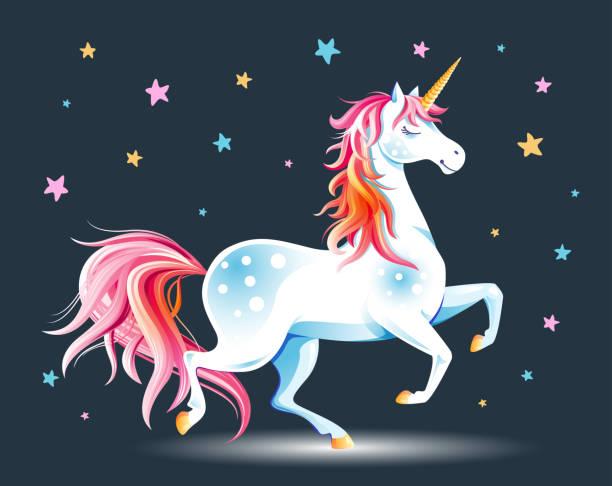 ilustraciones, imágenes clip art, dibujos animados e iconos de stock de unicornio y estrellas - unicornio