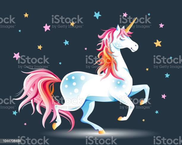 Unicorn And Stars Stock Illustration - Download Image Now