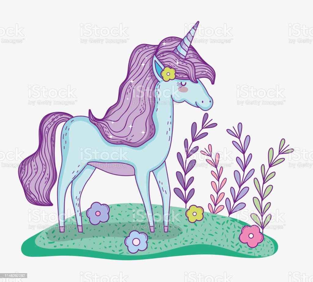 0b4dcce01 Ilustración de Animal De Unicornio Con Flores Y Ramas Hojas y más ...