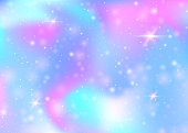 Hologram background with rainbow mesh. Trendy universe banner in princess colors. Fantasy gradient backdrop. Hologram unicorn background with fairy sparkles, stars and blurs.