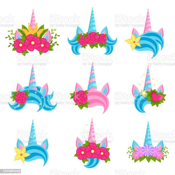 Unicorn beautiful tiaras with bright flowers set vector id1040994448?b=1&k=6&m=1040994448&s=612x612&h=m68gb5 sp3ujgahr c2jxekwieaugbo27 xfxfz1z4u=