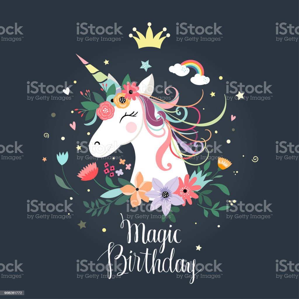 Unicorn birthday card vector art illustration