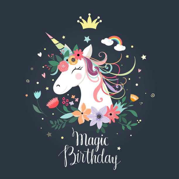 Unicorn birthday card Unicorn birthday card with hand drawn letters and decorative flowers unicorn stock illustrations