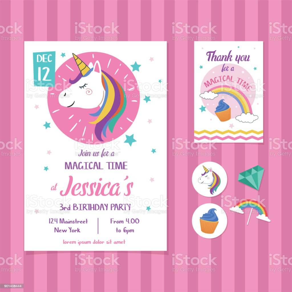 Unicorn Birthday Invitation Card Template With Unicorn Head Illustration  Stock Illustration - Download Image Now - iStock