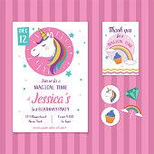 Unicorn birthday invitation concept