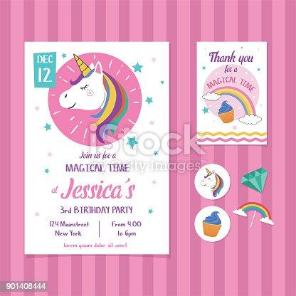 Unicorn Birthday Invitation Card Template With Unicorn Head