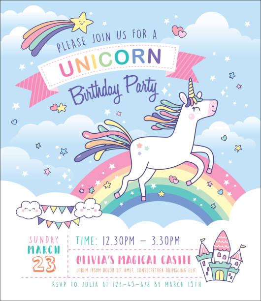 Unicorn birthday party invitation card Birthday party invitation card template with a cute unicorn and rainbow background unicorns stock illustrations