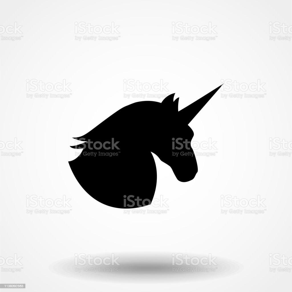 Unicorn Black Silhouette Vector Illustration Drawing Isolated Black
