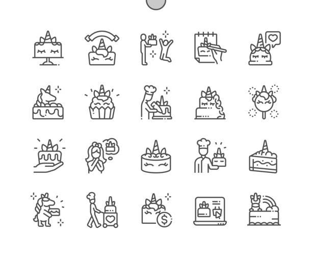 ilustrações de stock, clip art, desenhos animados e ícones de unicorn cake well-crafted pixel perfect vector thin line icons 30 2x grid for web graphics and apps. simple minimal pictogram - unicorn bed