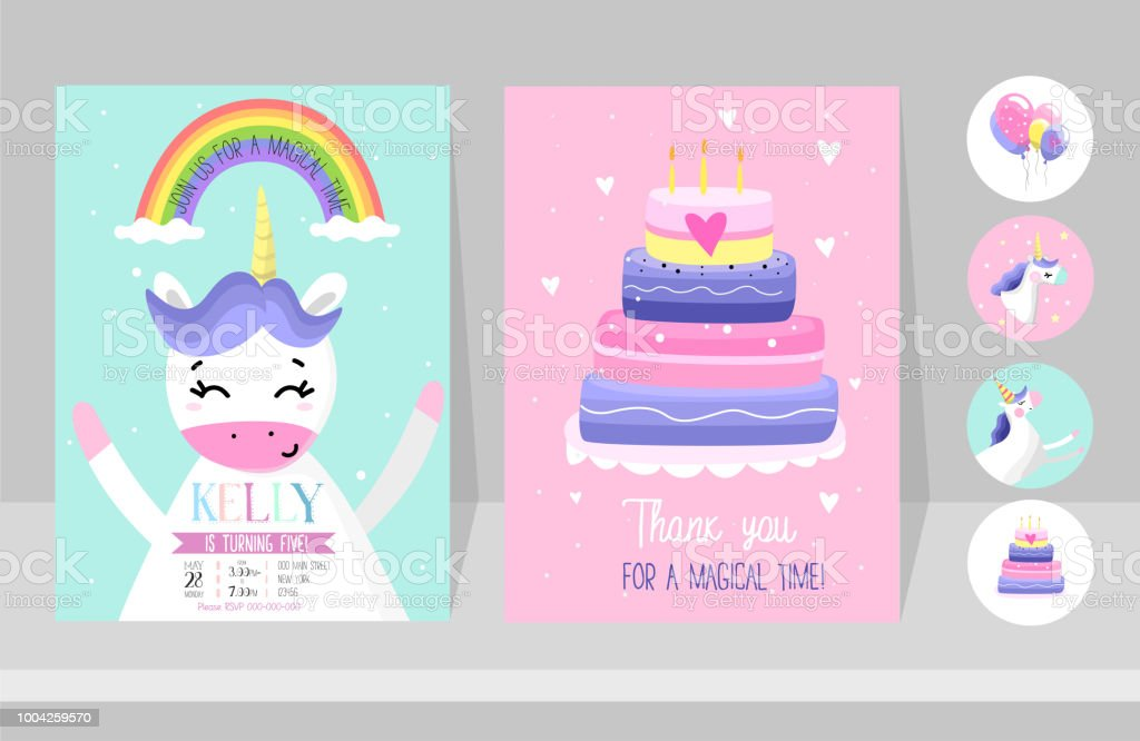 Unicorn Cards Set For Birthday Party Birthday Invitation Design For