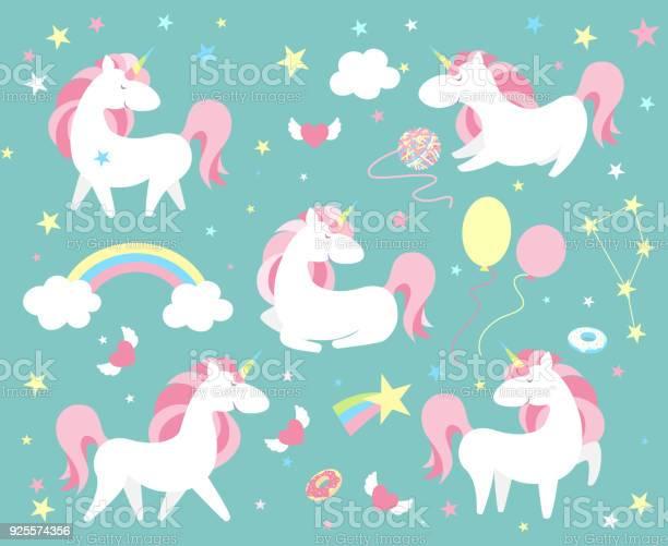 Unicorn character set cute magic collection with unicorn rainbow vector id925574356?b=1&k=6&m=925574356&s=612x612&h=mg8etxcslook4eztoll1euol4lioo9flnylaz5g5sfo=