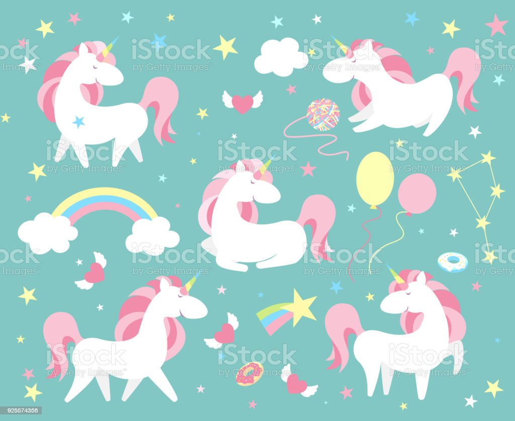 Unicorn character set. Cute magic collection with unicorn, rainbow, heart ,fairy wings and balloon. Catroon style vector illustration vector art illustration