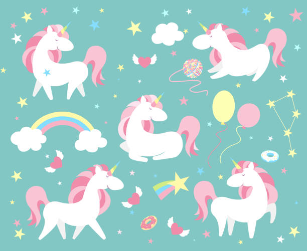 unicorn character set. cute magic collection with unicorn, rainbow, heart ,fairy wings and balloon. catroon style vector illustration - unicorns stock illustrations