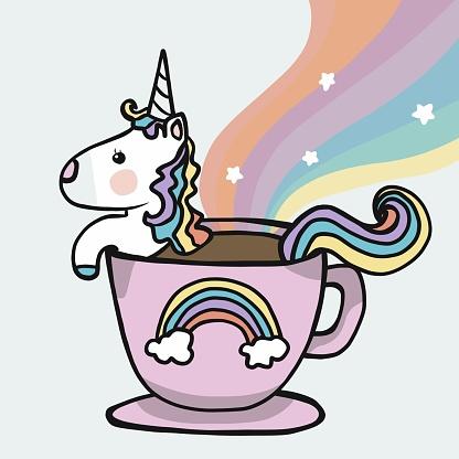 Unicorn coffee cup with rainbow cartoon vector illustration