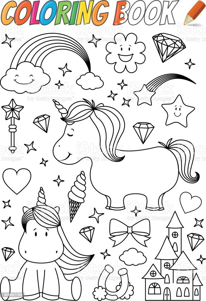 Unicorn Coloring Book Template Stock Vector Art & More Images of ...
