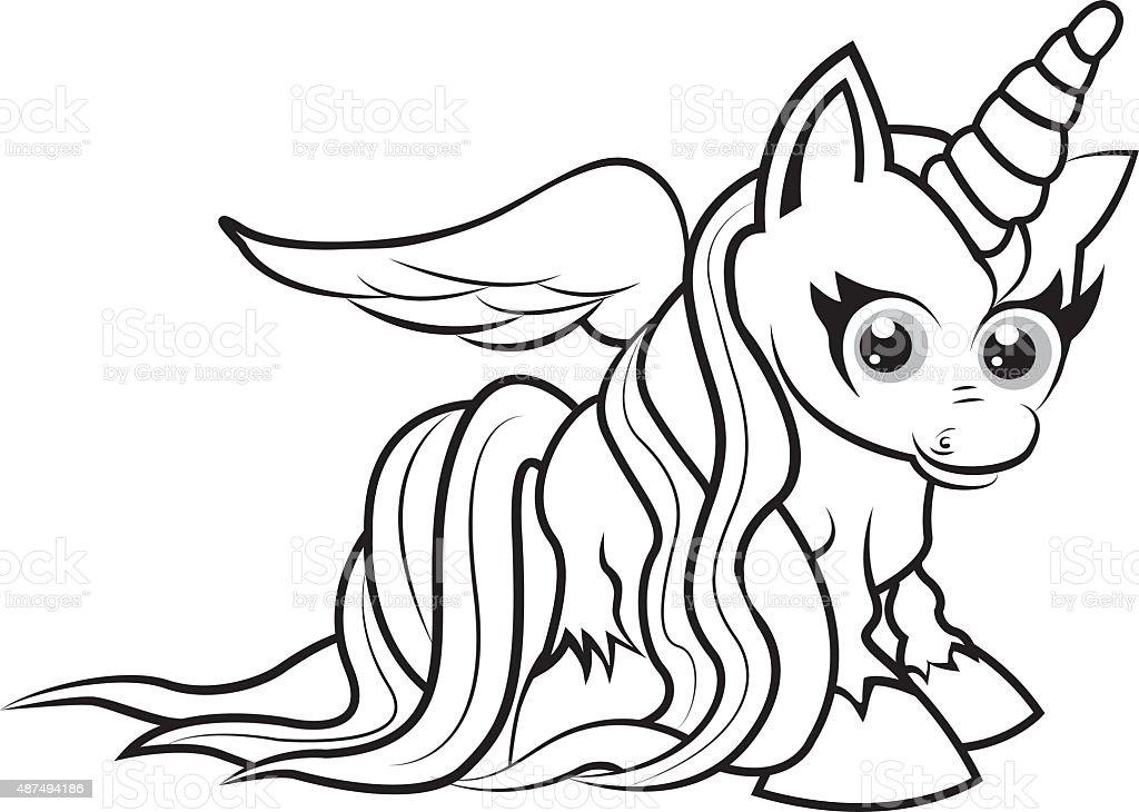 Unicornio Para Colorear Página Para Niños - Arte vectorial de stock ...