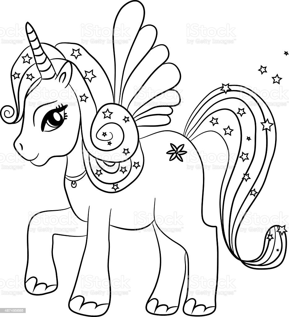 Unicorn Coloring Page For Kids Stock Illustration ...