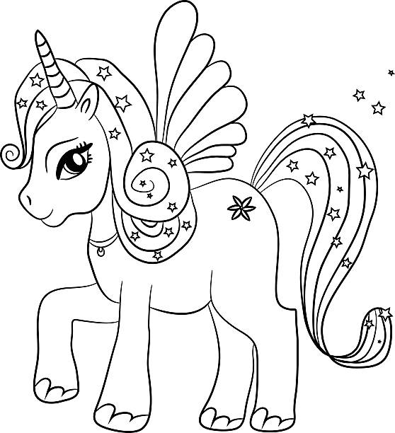 unicorn - coloring page for kids - unicorn line drawings stock illustrations, clip art, cartoons, & icons