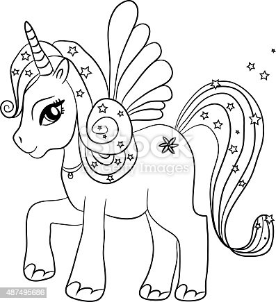 Unicorn Coloring Page For Kids Stock Vector Art & More