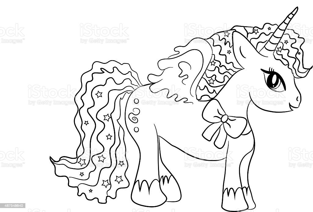Unicorn Coloring Page For Kids Stock Illustration - Download ...