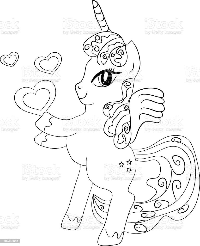 Unicornio para colorear p gina para ni os arte vectorial - Libero unicorno pagine da colorare ...