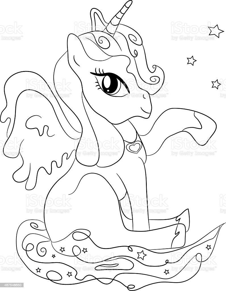 Ilustración De Unicornio Para Colorear Página Para Niños Y Más