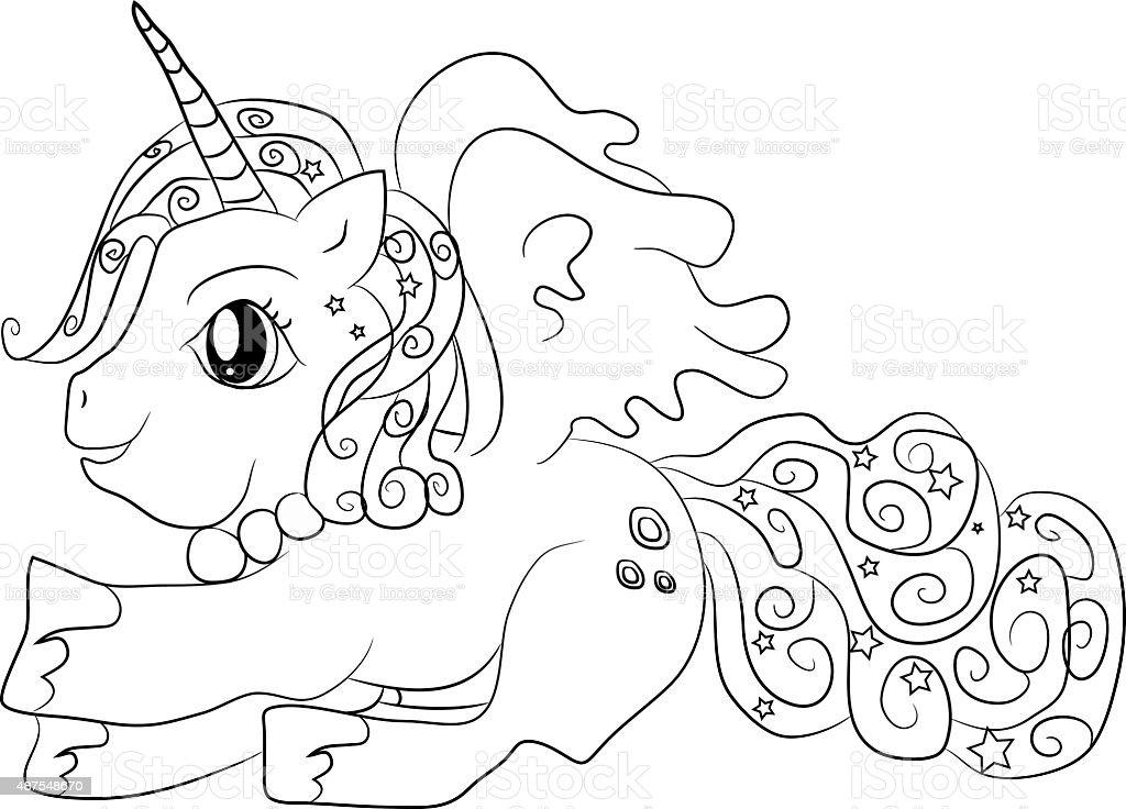 Ilustración de Unicornio Para Colorear Página Para Niños y más banco ...