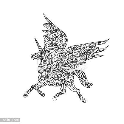 Ilustración de Unicornio Para Colorear Página y más banco de ...
