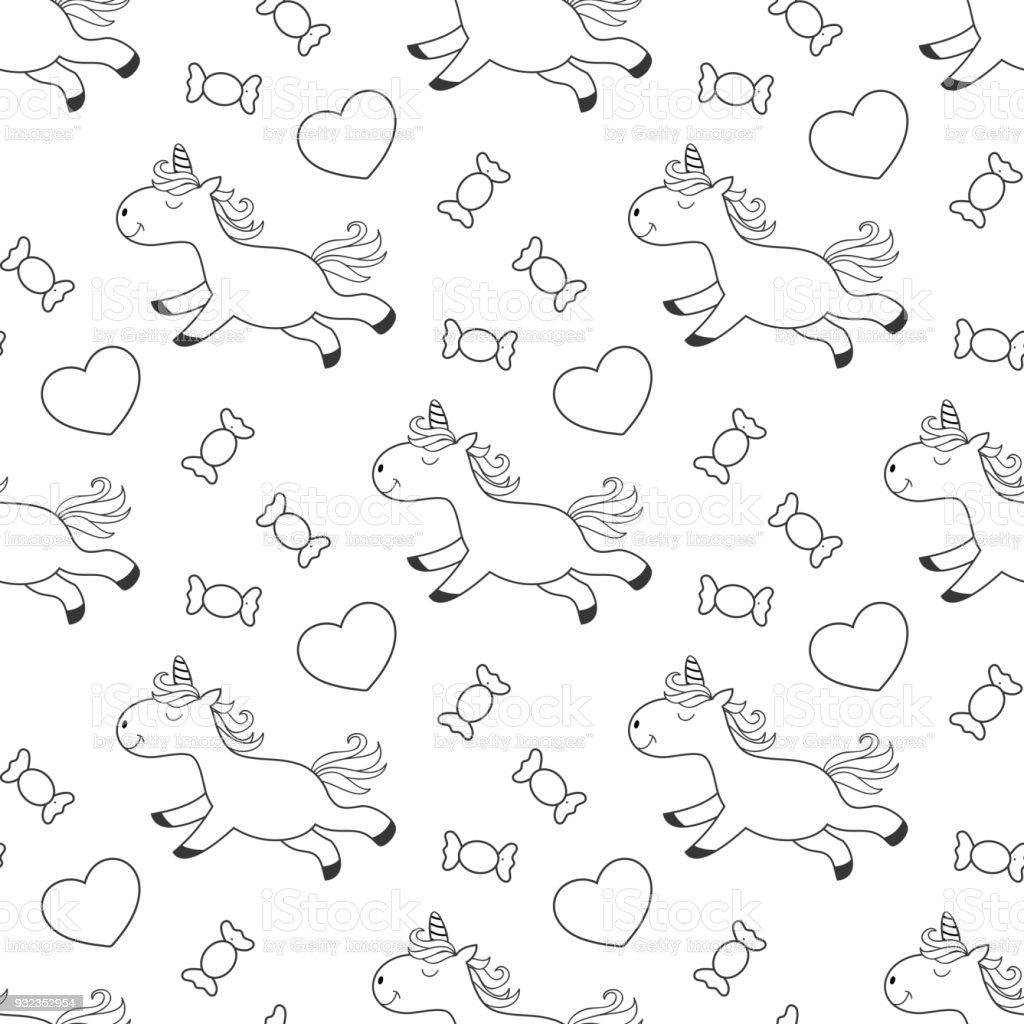 Ilustración de Unicornio Para Colorear Página Con Dulces Para Niños ...