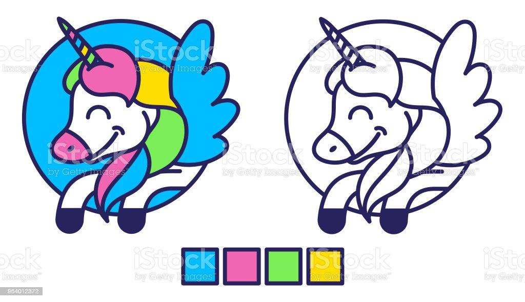 Ilustración de Unicornio Para Colorear y más banco de imágenes de ...