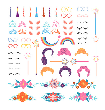 Unicorn constructor. Stylish pony details. Horns, mane and eyelashes, ears and crowns, glasses. Flowers and magic wand cartoon vector set