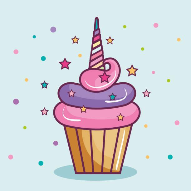 unicorn cupcake design - cupcake stock illustrations, clip art, cartoons, & icons