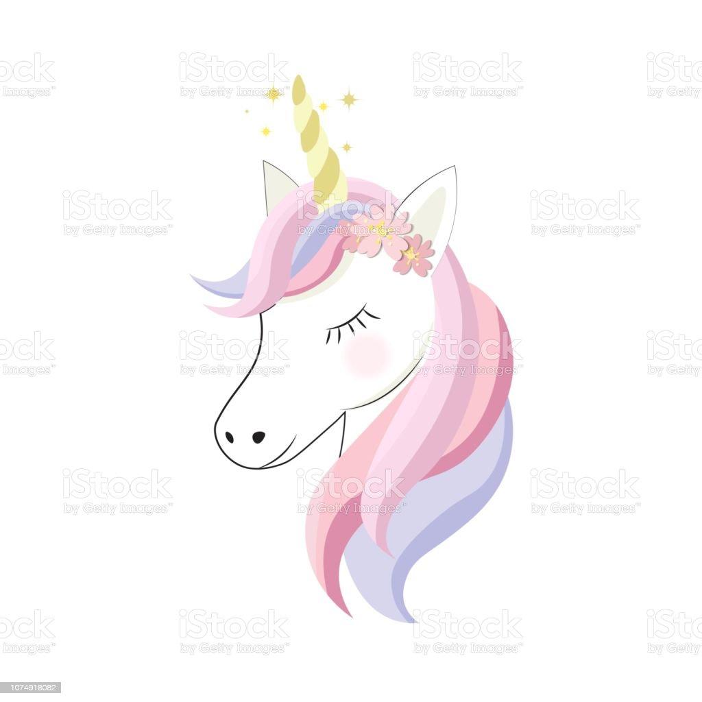 Ilustración De Unicornio Cute Dibujos Animados Estilo Plana
