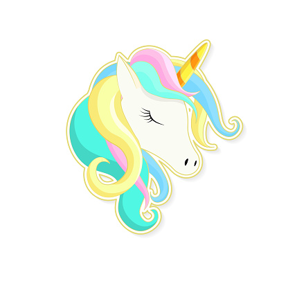 Unicorn cute cartoon in flat style for clothes or as type, badge, icon, greeting card, poster, t-shirt, invitation, banner template.