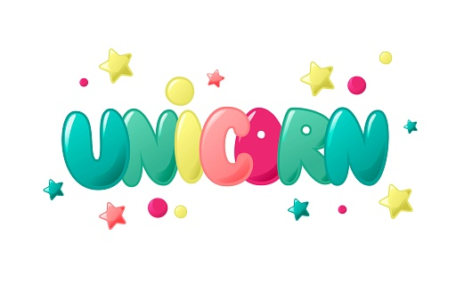 Unicorn cute funny lettering for kids t-shirts, game room, banner and children entertainment park. vector illustration isolated on white background.