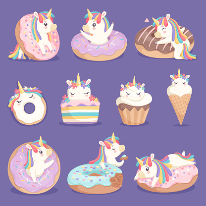 Unicorn donuts. Cute face and characters of magic rose little pony unicorn with cakes donuts ice cream vector dessert pictures