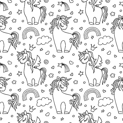 Unicorn doodle vector seamless pattern. Children's illustration seamless texture. Textiles, wrapping paper, wallpaper design, packaging. Black isolated elements on white background.