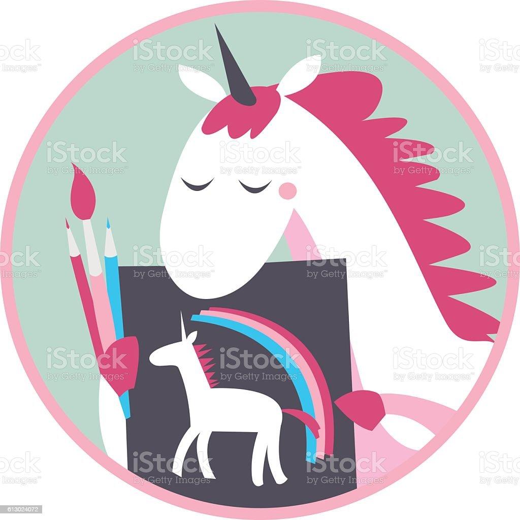 Unicorn draws a self-portrait. Achievement vector art illustration