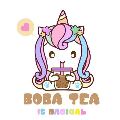 Unicorn Drink bubble Tea, Boba Milk Tea, Magical Drink, Vector Illustration