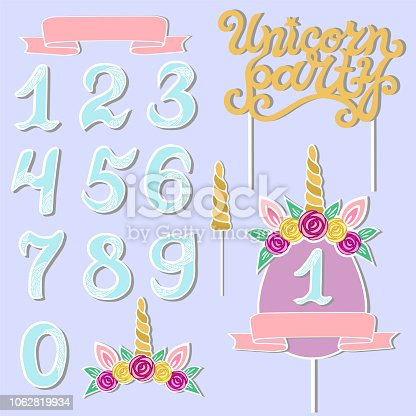 Vector set with Unicorn Party text, Unicorn Tiara, Horn, number. Unicorn Party lettering as patch, stick cake toppers, laser cut plastic, wooden toppers. Design elements for baby birth, Birthday party