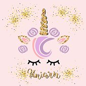 Vector illustration with Unicorn. Handwritten lettering Unicorn as patch, stick cake toppers, laser cut plastic, wooden toppers.Template for invitation, birthday, greetings, party, sweet baby menu