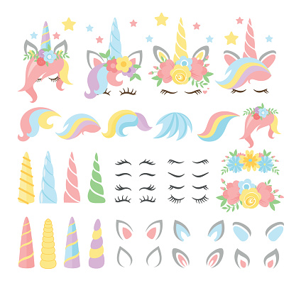 Unicorn elements flat vector illustrations set. Girly, childish stickers isolated pack. Magical horse with horn and stripy multicolor hair constructor kit. Eyelashes, ears, flowers, stars.
