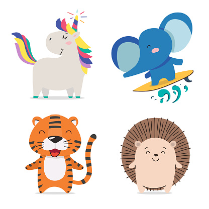 Unicorn, elephant, tiger, hedgehog. Cute cool little animals smiling. Kawaii cartoon baby animal character set. Flat hand drawn illustration kid's poster.Child theme. T-shirt print wear, greeting card