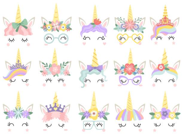 ilustraciones, imágenes clip art, dibujos animados e iconos de stock de cara de unicornio. hermoso pony unicornios caras, cuerno mágico guirnalda de la flor del arco iris y pestañas lindo vector ilustración - unicornio
