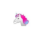 Unicorn Face Isolated Realistic Vector Icon. Unicorn Horse Head Illustration Emoji, Emoticon, Sticker Icon
