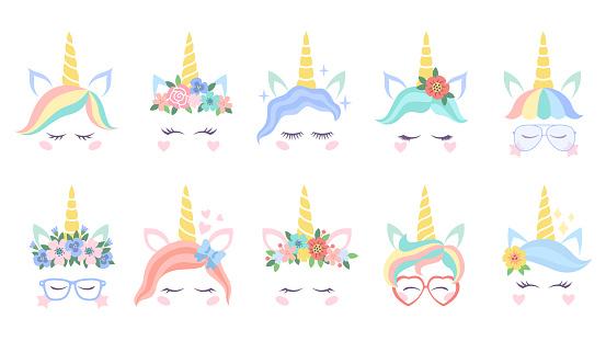 Unicorn face. Various cute pony unicorns funny heads. Magic horn in rainbow flower wreath and great eyelashes cartoon vector characters