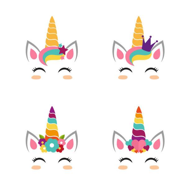 Colección de caras de unicornio - ilustración de arte vectorial