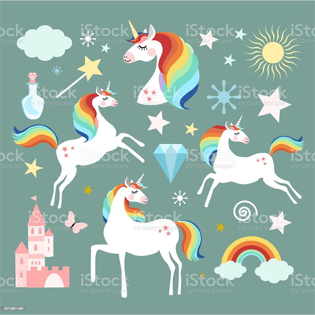 Unicorn fairy magic elements collection vector art illustration