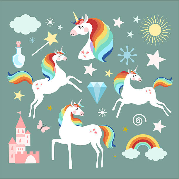 Unicorn fairy magic elements collection - ilustración de arte vectorial