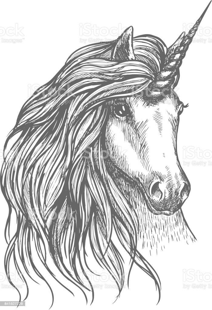Unicorn Fantastische Paard Sketch Voor Tattoo Design